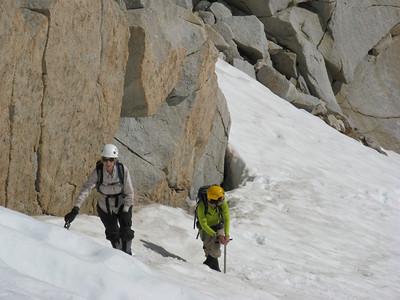 Marlen and Trang  coming up the chute